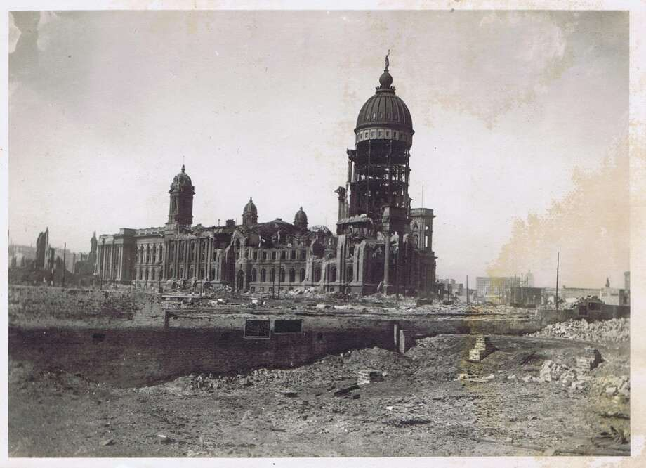 1906 San Francisco earthquake photos from the collection of Bob Bragman. The ruins of City Hall taken from the location of the Mechanics Institute, which is now the Bill Graham Auditorium.