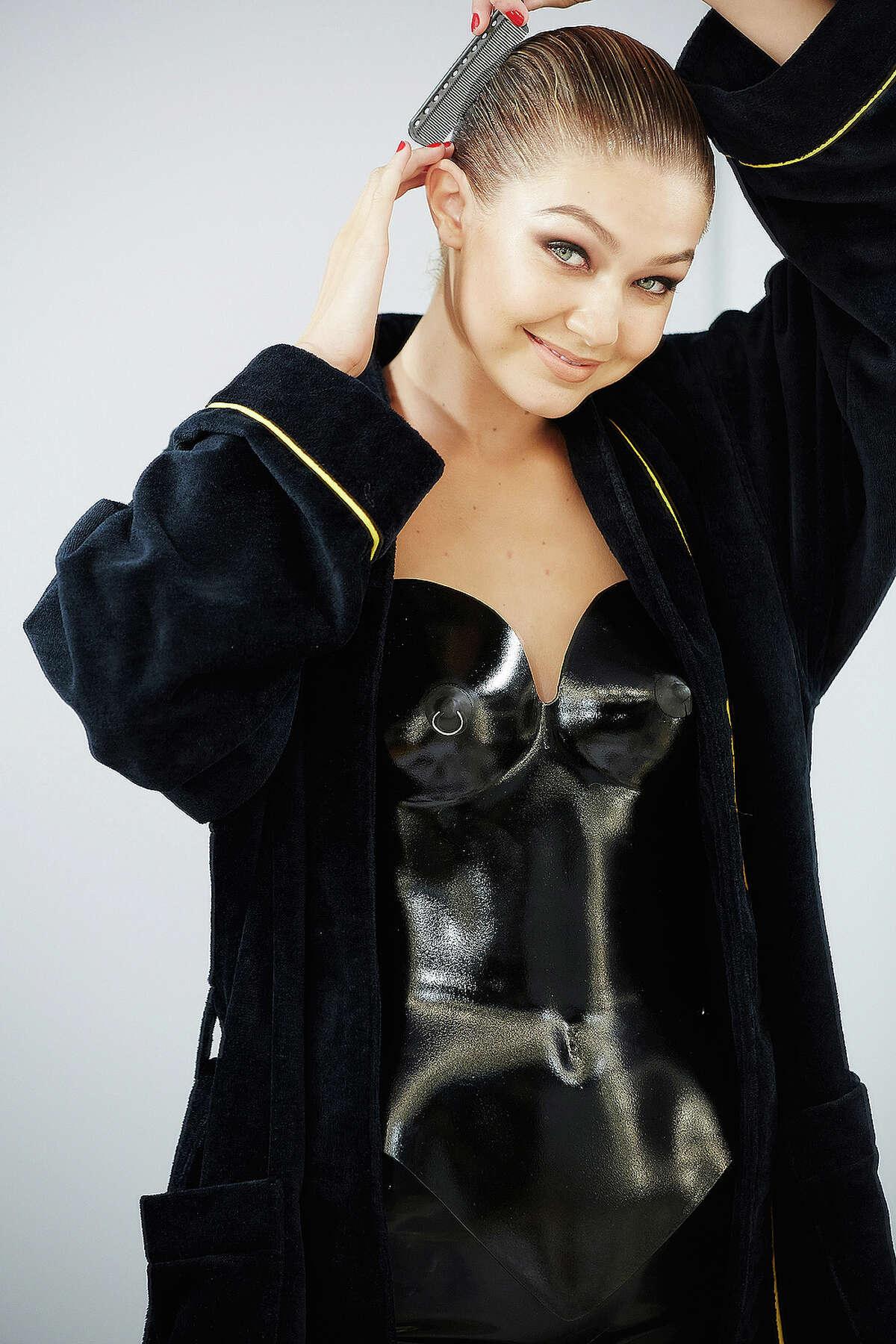 Gigi Hadid backstage on a shoot for Pirelli's