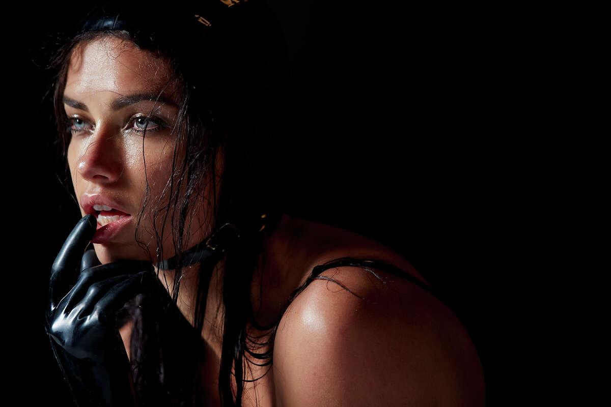 Adriana Lima backstage on a shoot for Pirelli's
