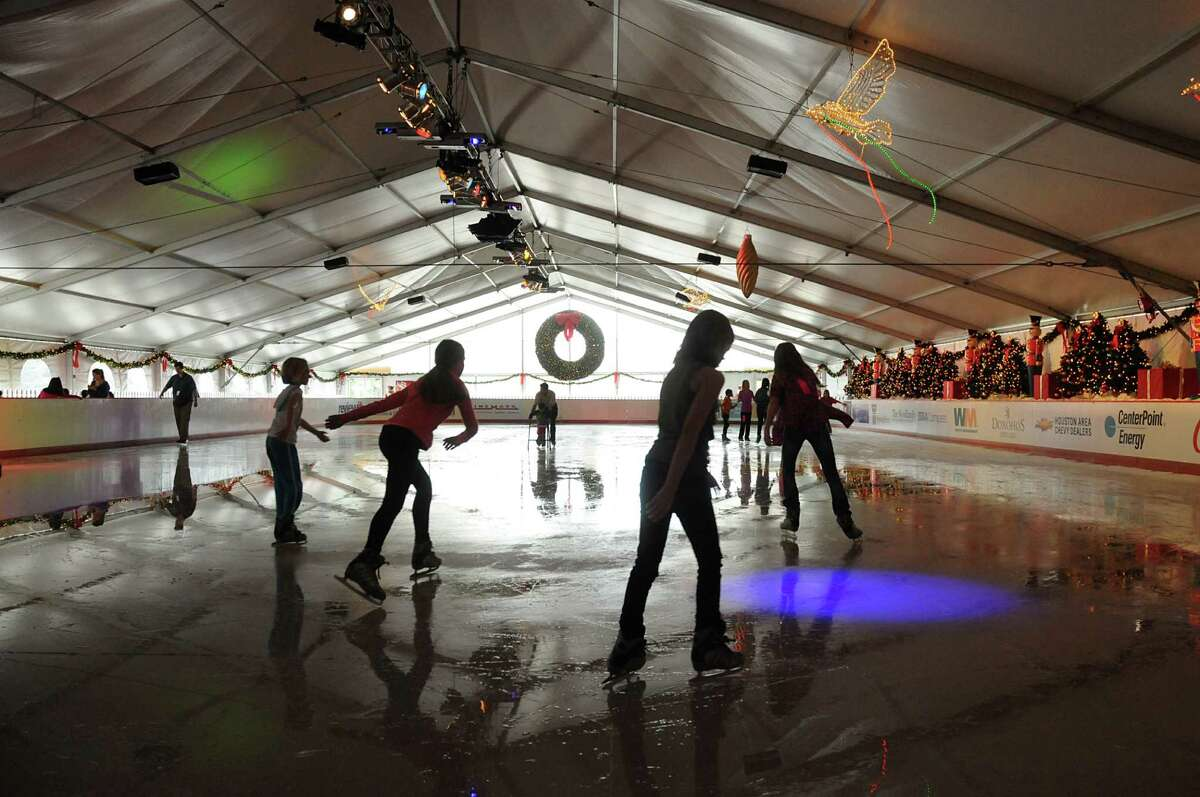 Ice skaters enjoy the large rink at The Ice Rink at The Woodlands Town Center on the northeast corner of Lake Robbins and Six Pines Drive. The Ice Rink is open from November 17 through January 21, 2013. Photo by David Hopper