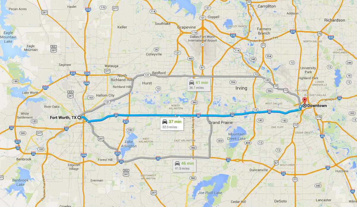 Downtown Fort Worth to downtown Dallas is longer than the Gaza Strip is long, longer than the English channel.
