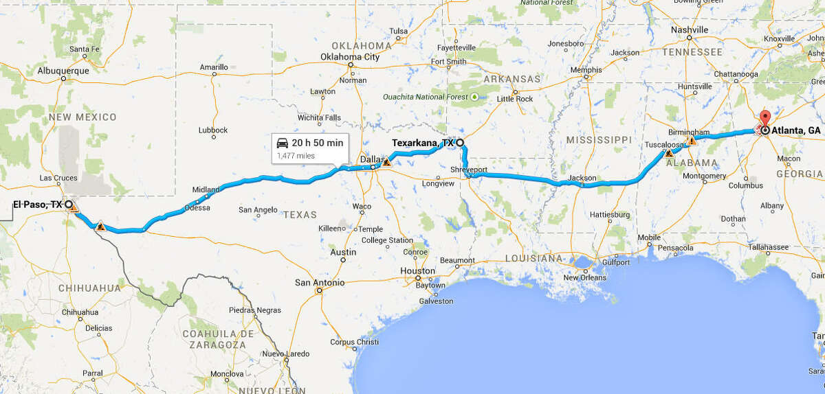 Texarkana is closer to Atlanta than El Paso.