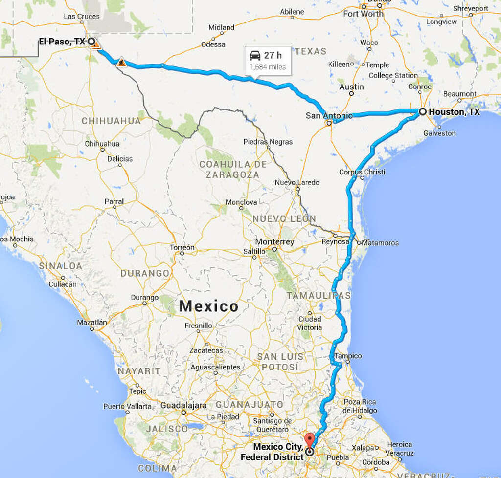Take long road trips So long as they're in the same state. Fun fact, the drive to El Paso is only about 8 miles shorter than going to Mexico City. Photo: Google Maps