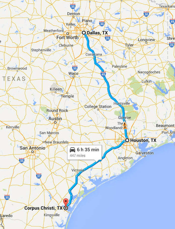 The distance from Houston to Corpus Christi is about three hours, or 207 miles ... about the same as Houston to Dallas. Photo: Google Maps