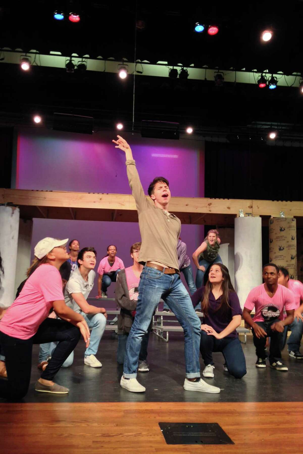 J. Frank Dobie High senior Zach Blue rehearses his role as Danny in