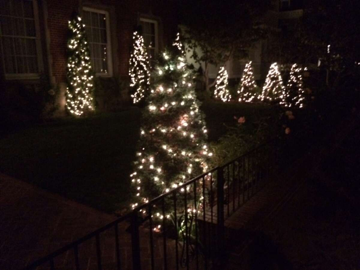 Christmas lights on a home on Pacific Avenue, San Francisco. The Chronicle/Sam Whiting