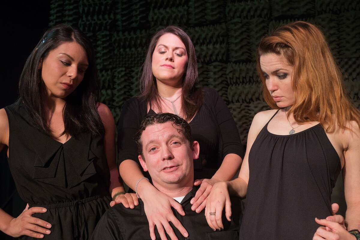 Director Michael Ross is surrounded by the Briana J. Resa, left, Libby Evans and Cay Taylor, who who play his character's three girlfriends in The Music Box Theater's production of Stephen Sondheim's
