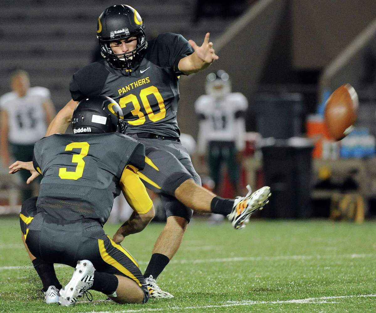Klein Oak kicker Marcus Ripley (30) connects for a 41-yard field goal during the first half of a high school football game, Thursday against Spring, November 6, 2014, at Klein Memorial Stadium in Houston. (Photo: Eric Christian Smith/For the Chronicle)