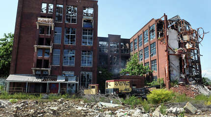 The former Remington Arms plant on Barnum Avenue along the Metro-North Railroad tracks, in Bridgeport, Conn.
