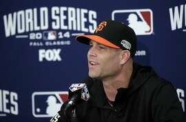 FILE - This Oct. 23, 2014, file photo shows San Francisco Giants pitcher Tim Hudson answering questions during a news conference in San Francisco. Hudson says next season will probably be his last. The 39-year-old right-hander finally reached and won the World Series in his 16th major league season. He said Tuesday, Nov. 18, 2014,  he plans to fulfill his $23 million, two-year contract with the Giants then possibly call it a career. (AP Photo/Marcio Jose Sanchez, File)
