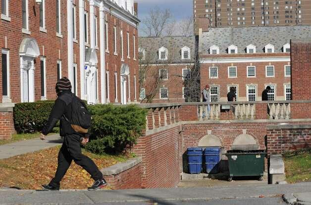Students walk to Alumni Quad, a UAlbany dormitory downtown on Tuesday, Nov. 18, 2014 in Albany,  N.Y. (Lori Van Buren / Times Union) Photo: Lori Van Buren / 00029538A