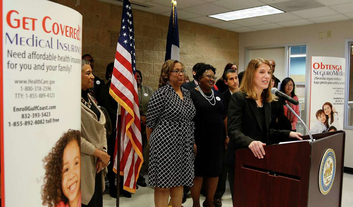 Health and Human Services Secretary Sylvia M. Burwell speaks during a press conference on the Affordable Care Act at the Denver Harbor Community Health Center Tuesday, Nov. 18, 2014, in Houston. ( James Nielsen / Houston Chronicle )