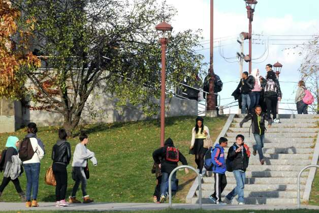 William S. Hackett Middle School students exit the school at the end of the day Tuesday afternoon, Nov. 18, 2014, in Albany, N.Y. (Michael P. Farrell/Times Union) Photo: Michael P. Farrell / 00029540A
