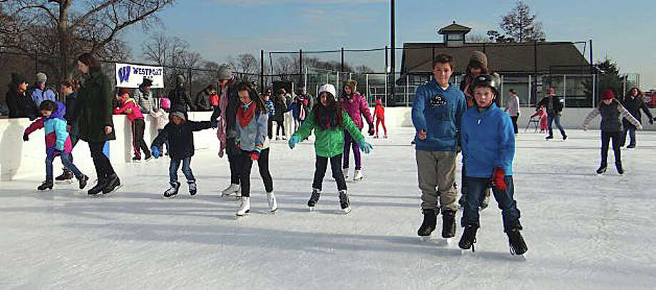 Westport Police Athletic League's ice-skating rink at Longshore, newly expanded this year, opens for the season Friday. Photo: File Photo / Westport News