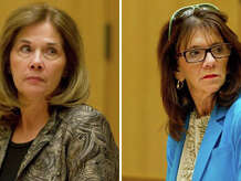 A judge is expected to rule Wednesday on the case of Stamford High School assistant principal Ruth Nordin (left) and principal Donna Valentine.