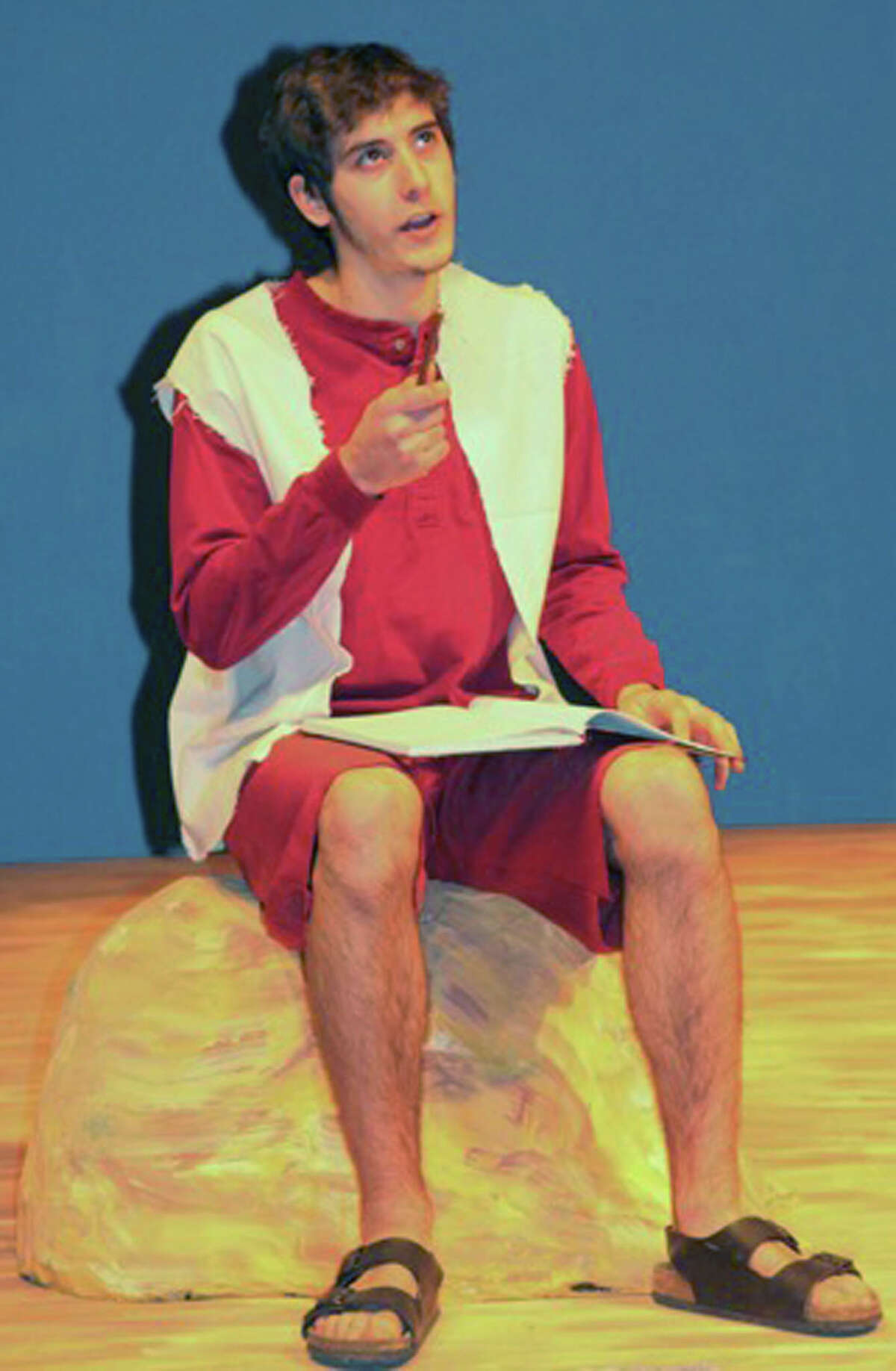 Ray Cooke as Noah rehearses for Shepaug Valley High School's November 2014 presentation of