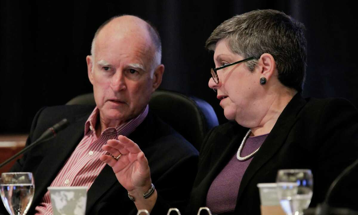 Gov. Jerry Brown and University of California President Janet Napolitano at a UC regents meeting in 2013.