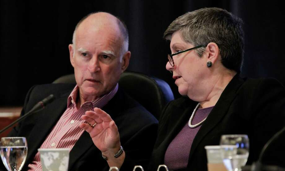 Gov. Jerry Brown and University of California President Janet Napolitano at a UC regents meeting in 2013. Photo: Michael Macor / Michael Macor / The Chronicle / ONLINE_YES