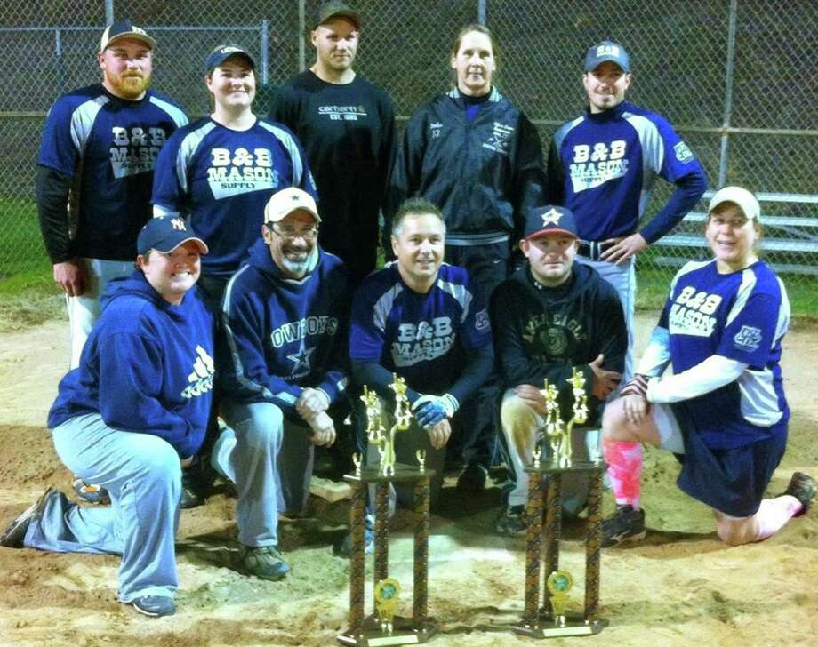 Diamond champs  Claiming yet another New Milford Parks & Recreation coed softball championship recently was a  B & B Mason squad featuring, from left to right, front row, Misty Harvey, John Bernardi, Joe Chemero, Josh McSherry and Stephanie Dumas; and, back, Chris Buckley, Sue Debary, Steve Bailey, Brenda Bartrum and Derick Ruotolo. Absent was Jason Maxwell.  Courtesy of  Jason Maxwell Photo: Contributed Photo / The News-Times Contributed