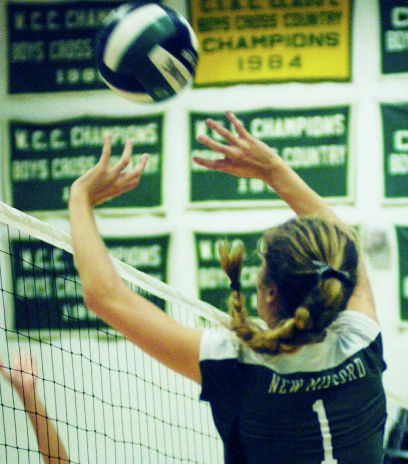 The New Milford High School volleyball team, led by all-South-West Conference player Olivia Seegers, posted a 13-9 record during the 2014 season. Photo: Norm Cummings / The News-Times