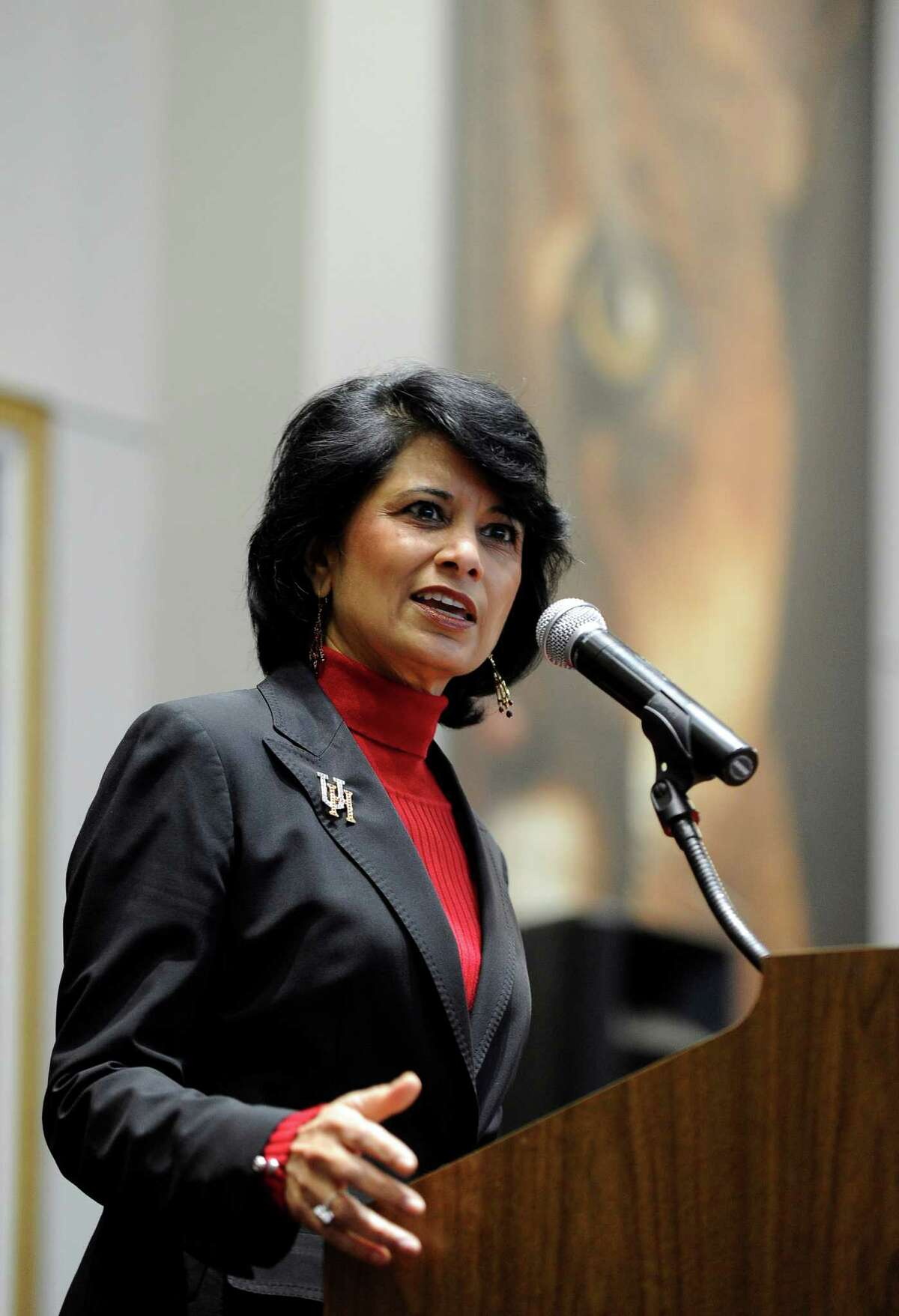 University of Houston president and chancellor Renu Khator speaks during a press conference Thursday, Dec. 22, 2011, in Houston. (AP Photo/Pat Sullivan)