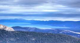 Waiting for snow: The scene at mid-morning Wednesday from the top of Grandview Express at Sierra-at-Tahoe