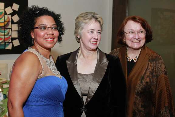Juana Collins, from left, Mayor Annise Parker and Kathy Hubbard. (For the Chronicle/Gary Fountain, November15, 2014)