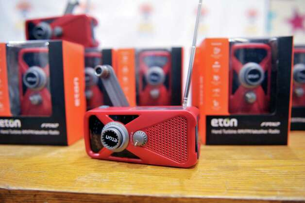 A view of some of the Eton Crank Radios donated to the Soldier On organization on Wednesday, Nov. 19, 2014, at WAMC in Albany, N.Y.   (Paul Buckowski / Times Union) Photo: Paul Buckowski / 00029542A