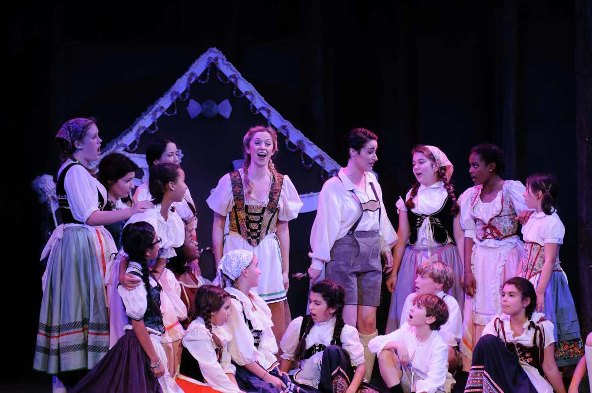 """Katie Dixon, left center in rear, plays Gretel and Hilary Ginther is Hansel in Opera in the Heights' production of Engelbert Humperdinck's """"Hansel and Gretel."""""""