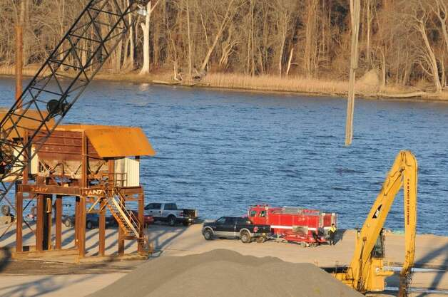 Police set up a staging area at the Port of Coeymans after a body was pulled from the Hudson River on Wednesday, Nov. 19, 2014. (Michael P. Farrell/Times Union)