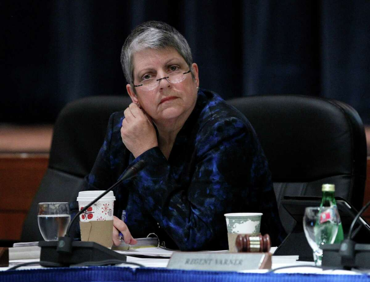 UC President Janet Napolitano listens to public commentary at the University of California Board of Regents meeting in San Francisco in November.