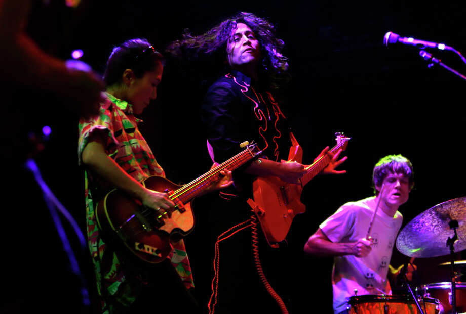 Deerhoof's Satomi Matsuzaki (left), Ed Rodriguez and Greg Saunier play the Great American Music Hall in San Francisco. Photo: Scott Strazzante / The Chronicle / ONLINE_YES