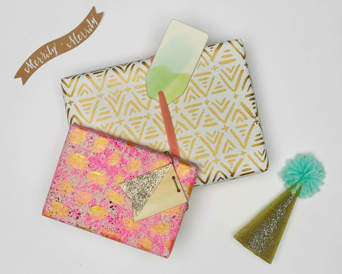 Handcrafted Creations: Give gifts that personal touch with handcrafted elements, like the wood gift tags painted gold and dusted with glitter shown here. Styling by Lisa Milestone of Pippa & Co. For purchase information see full credits below.