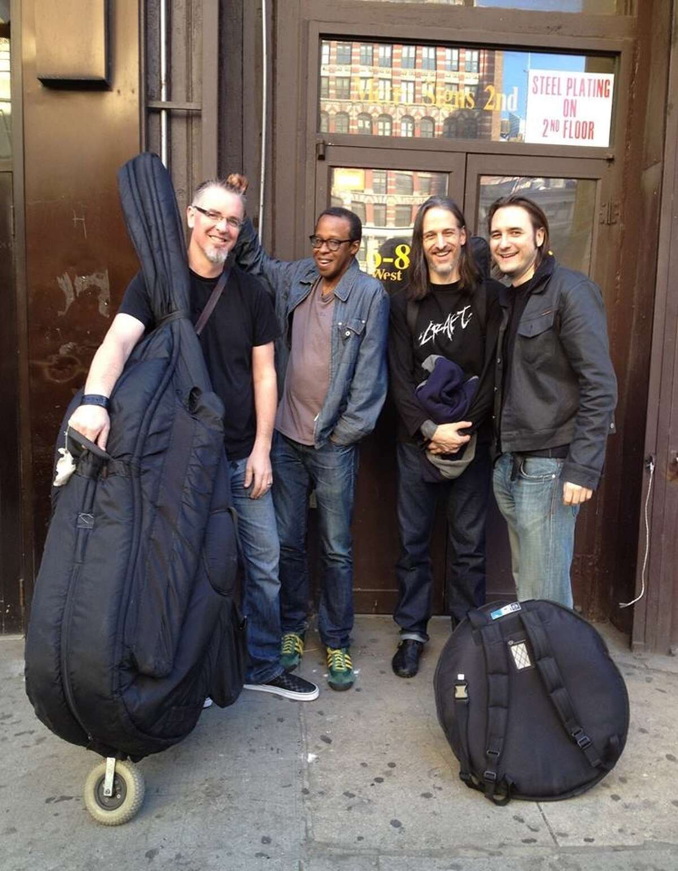 Core Trio - Seth Paynter, from left, Joe Hertenstein and Thomas Helton - with pianist Matthew Shipp, right.