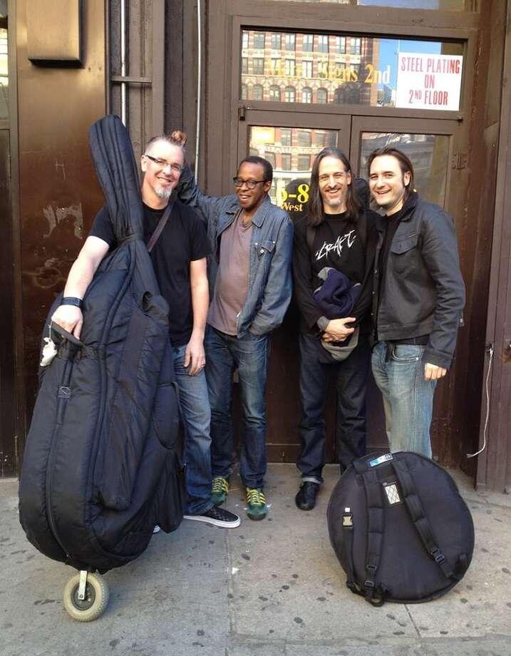 Core Trio - Seth Paynter, from left, Joe Hertenstein and Thomas Helton - with pianist Matthew Shipp, right. Photo: Courtesy Photo