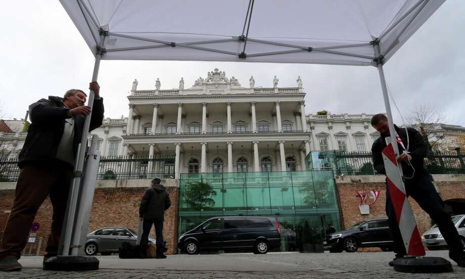 Journalists set up a tent outside Palais Coburg in Vienna, Austria, where nuclear talks with Iran are taking place. Photo: Ronald Zak / Associated Press / AP