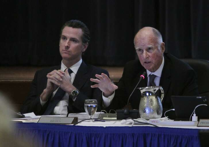 A 2014 file photo of Gov. Jerry Brown and Lt. Gov. Gavin Newsom in San Francisco.