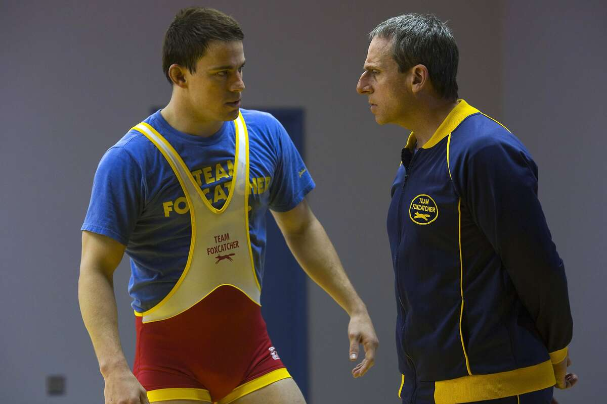 This image released by Sony Pictures Classics shows Steve Carell, right, and Channing Tatum in a scene from