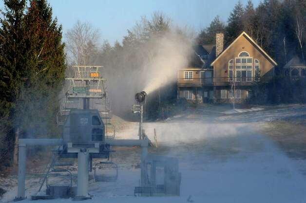 Snow making machines were on full force to get ready for the ski season at Windham Mountain on Wednesday, Nov. 19, 2014 in Windham, N.Y. The resort opens Friday. (Lori Van Buren / Times Union) Photo: Lori Van Buren