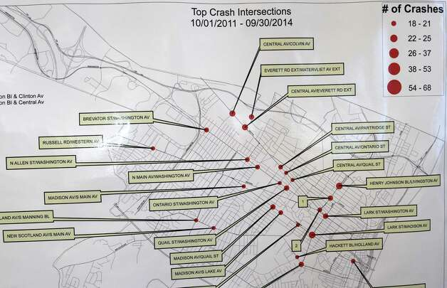 A schematic of most accidents at intersections in Albany was displayed at a special Traffic Safety Stakeholder Committee meeting to provide the committee, ACPAC members, and Common Council members a chance to provide feedback to the selection process for the intersections that red light cameras will be installed Wednesday afternoon, Nov. 19, 2014, in Albany, N.Y. (Skip Dickstein/Times Union) Photo: SKIP DICKSTEIN / 00029555A