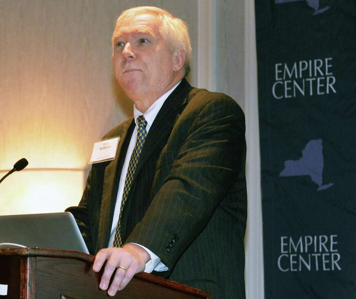 E.J. Mcmahon, president of the Empire Center for Public Policy speaks during a panel discussion on NYS infrastructure needs Wednesday, Nov. 19, 2014, in Albany, N.Y. (John Carl D'Annibale / Times Union)