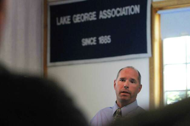 Dave Wick,  executive director of the Lake George Park Commission addresses those gathered during a meeting of the Asian Clam task force on Thursday, Sept. 20, 2012, at the Lake George Association headquarters in Lake George, N.Y.  (Paul Buckowski / Times Union) Photo: Paul Buckowski / 00019298A