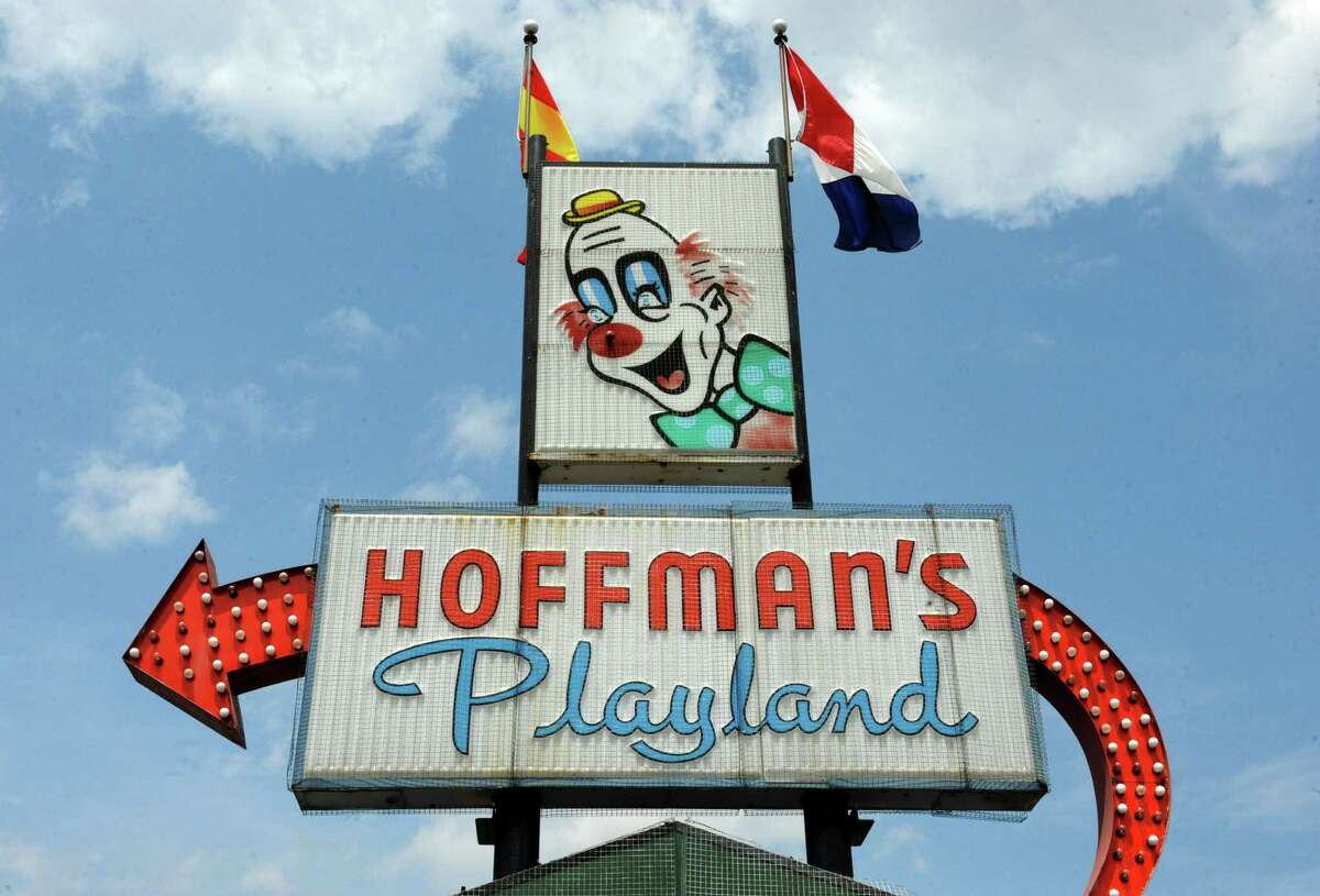 Sign in the parking lot of Hoffman's Playland on Tuesday, July 8, 2014 in Latham, N.Y. The 62-year-old amusement park will close at the end of the summer. (Lori Van Buren / Times Union)