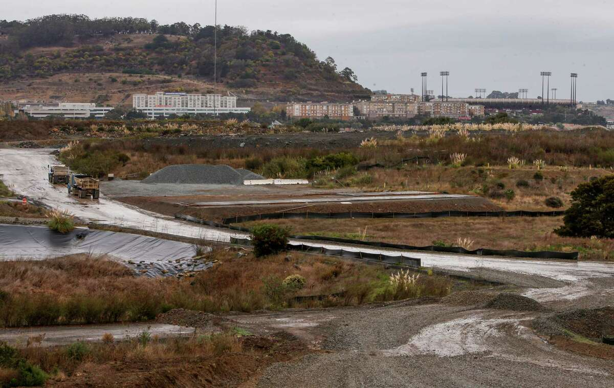 An Olympic bid by San Francisco may include a temporary stadium to seat 60,000 for the Opening and Closing Ceremonies and the track-and-field events, which could be built on the Bayland's soil-processing land along Highway 101, as seen Nov. 19, 2014, in San Francisco.