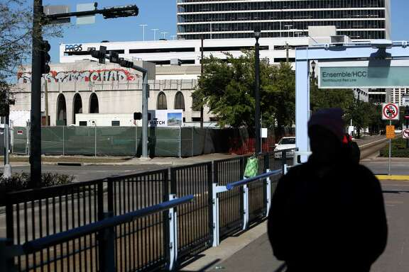 The property being sold at 3300 Main Street, bounded by Main, Travis, Stuart and Francis, in the background to the left, near the METRORail red line Tuesday, Nov. 18, 2014, in Houston, Texas. The proceeds will likely go to redevelopment of the nearby Superblock.