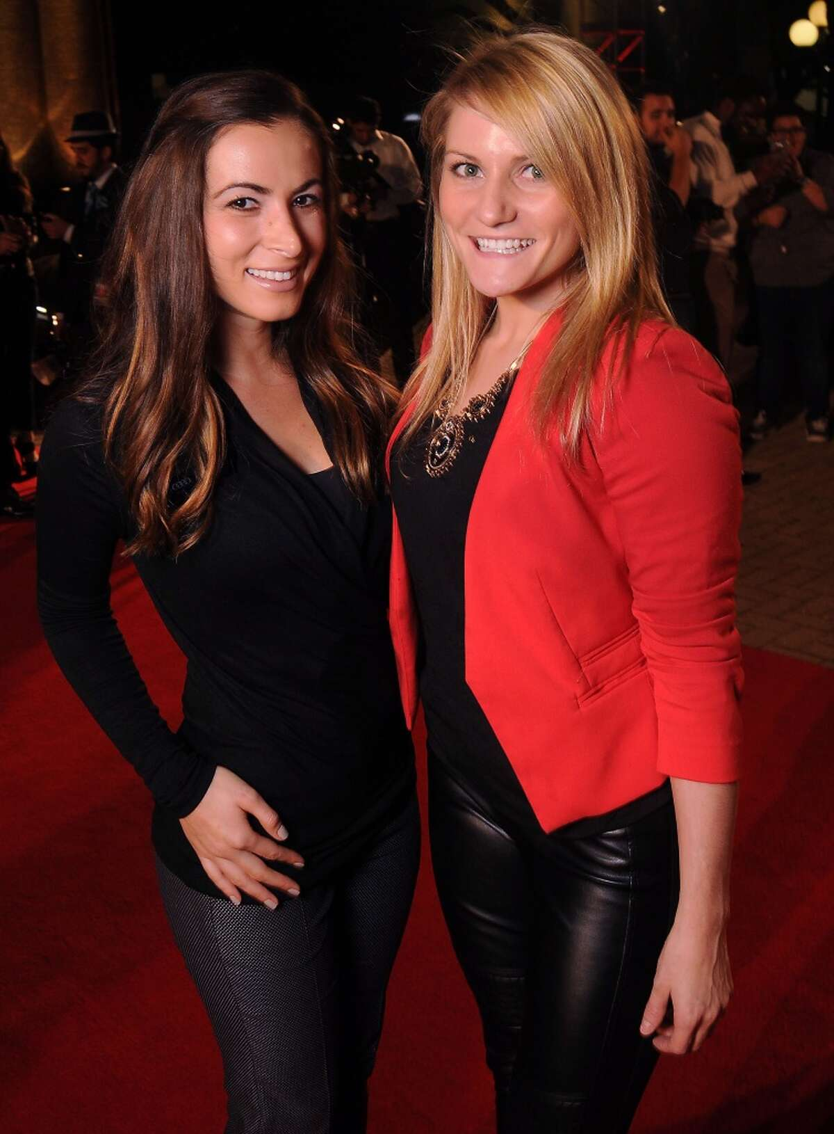 Geanina Bajenaru and Allison Piper on the red carpet at Fashion Houston 5 at the Wortham Theater Wednesday Nov. 19, 2014.(Dave Rossman photo)