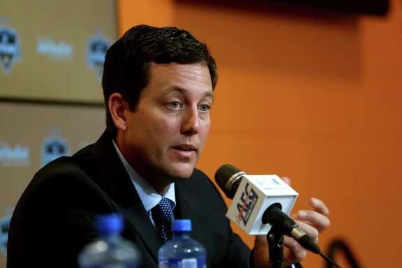 Chris Canetti, Dynamo team president at a press conference to address the state of the team at BBVA Compass Stadium Tuesday, Oct. 21, 2014, in Houston, Texas.