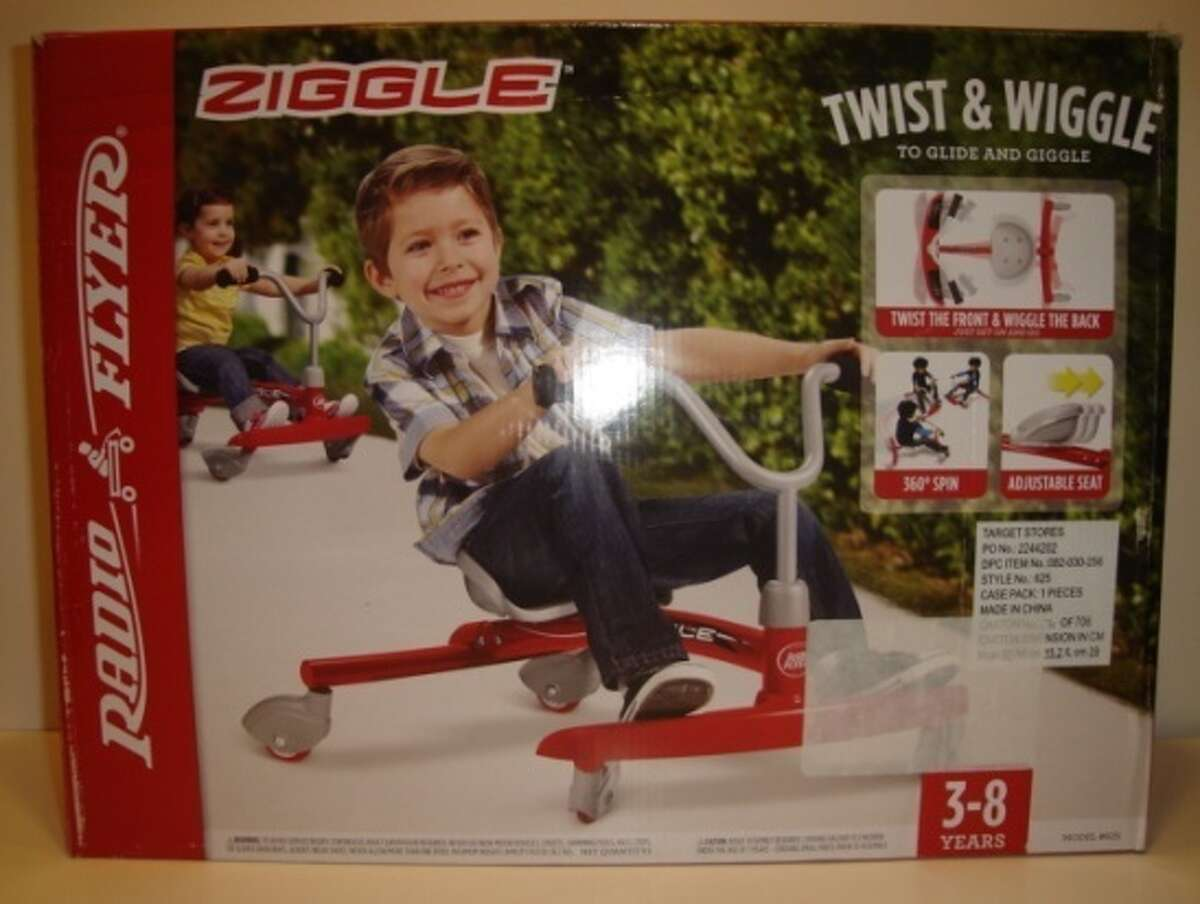 Radio Flyer Ziggle Sold by: Target, Toys R Us, Amazon Why WATCH says it's hazardous: Potential forehead and other impact injuries with a low profile to the ground and a photo of a child not wearing safety equipment on the box.