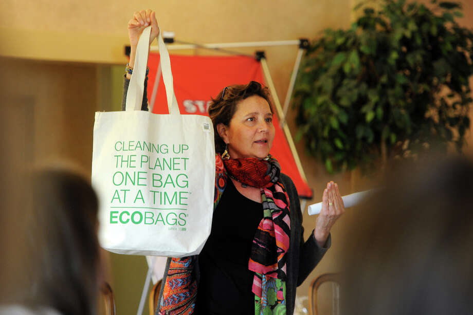 Sharon Rowe, CEO & Founder Eco-Bags Products Inc., speaks at the Greater Danbury Chamber of Commerce's Women Business Council forum and lunch in Danbury, Conn. Nov. 20, 2014. Photo: Ned Gerard / Connecticut Post