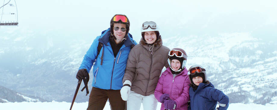 """This photo released by Magnolia Pictures shows, from left, Johannes Bah Kuhnke, Lisa Loven Kongsli, Clara Wettergren and Vincent Wettergren in a scene from the film, """"Force Majeure,"""" a Magnolia Pictures release.  (AP Photo/Courtesy Magnolia Pictures) ORG XMIT: CAET273 / Magnolia Pictures"""